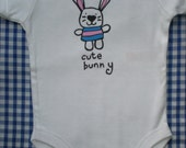 cool 'cute bunny'  baby one piece, romper, onesie by Smith & West