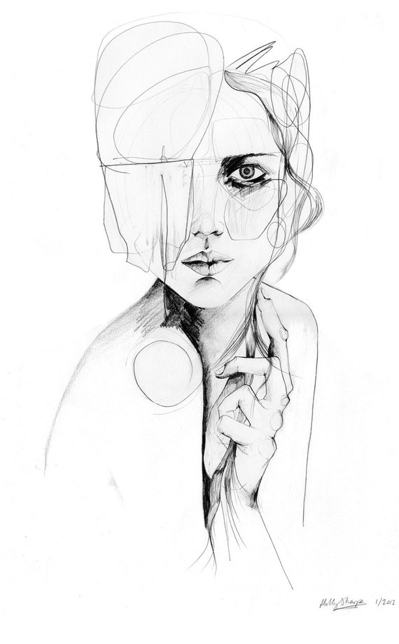 Line Drawing Female Face : Sketch v original drawing