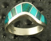 Handmade woman's sterling silver ring inlaid with chysocolla and turquoise.