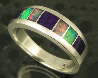 Australian Opal Wedding Ring, Australian Opal and Sugilite Wedding Band, Opal Wedding Band, Sugilite Wedding Band