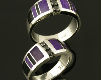 black diamond wedding ring set with sugilite and black onyx inlaid in sterling silver sugilite wedding ring set black onyx wedding set - Onyx Wedding Ring