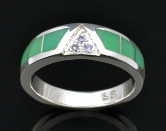 Chrysoprase Ring With White Sapphires in Sterling Silver, Chrysoprase Wedding Band, White Sapphire Wedding Ring