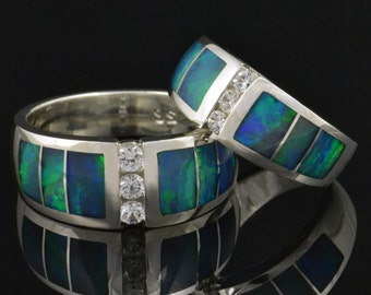 Australian Opal Wedding Ring Set with White Sapphires - Opal Wedding Rings