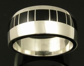 Black Onyx Ring in Stainless Steel, Onyx Wedding Ring, Black Onyx Wedding Band, Man's Onyx Ring