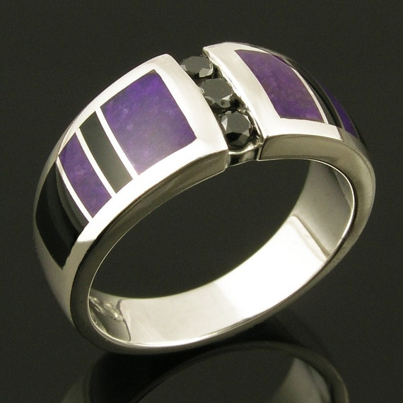 Black Diamond Wedding Ring Inlaid with Sugilite and Black Onyx, Sugilite Wedding Ring, Black Onyx Wedding Ring