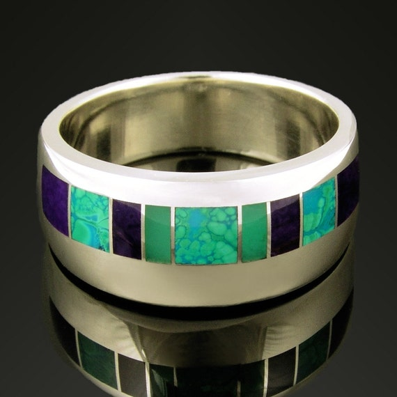 Sugilite Ring with Chrysoprase and Chrysocolla Inlaid in Sterling Silver- Sugilite Ring in Silver- Unique Wedding Ring for Men