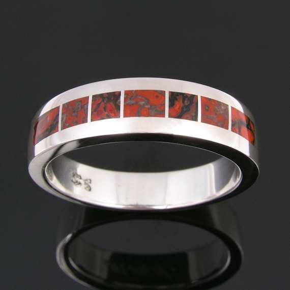 Dinosaur bone ring for men handmade in sterling silver by Hileman Silver Jewelry