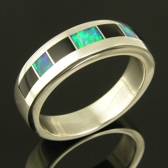Handmade Australian Opal and Black Onyx Ring by Hileman Silver Jewelry