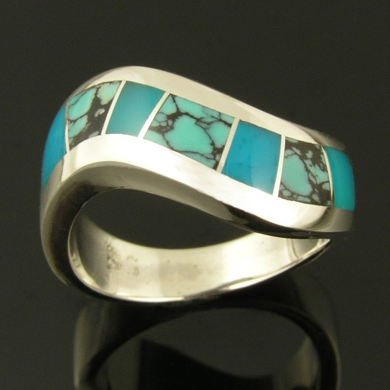 Sterling Silver Ring With Spiderweb Turquoise And Gem Silica