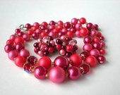 Vintage Pink Beaded Necklace and Earrings