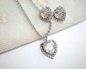 Vintage Coro Rhinestone Heart Necklace and Earrings
