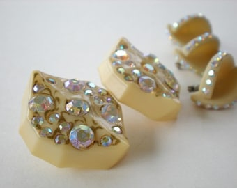 Vintage Celluloid Rhinestone Scatter Pins and Earrings