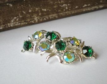Vintage BSK Green Rhinestone Earrings