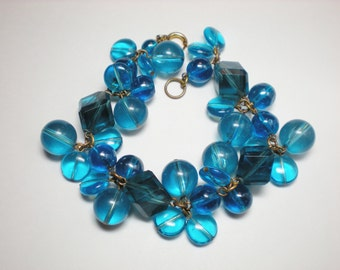 Vintage Blue Chunky Lucite Bracelet