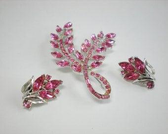 Vintage Pink Dodds Rhinestone Brooch and Earrings