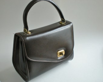 Vintage Retro Asymmetrical Box Purse Chocolate Brown