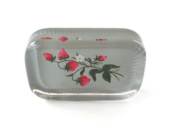 Vintage Strawberry Glass Paperweight