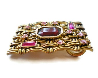 Vintage Mod Gold Jeweled Slide Pendant