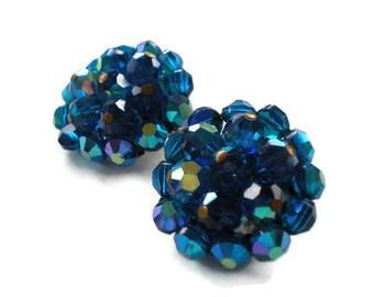Brilliant Blue AB Crystal Bead Earrings