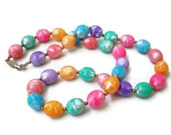 Vintage Spring Color Bead Necklace