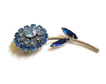 Vintage Blue Flower Brooch and Earring Set