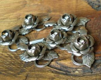 Vintage Rhinestone Bracelet Silver Roses Rhinestones