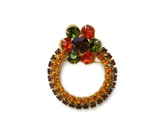 Autumn Colors  Rhinestone Brooch