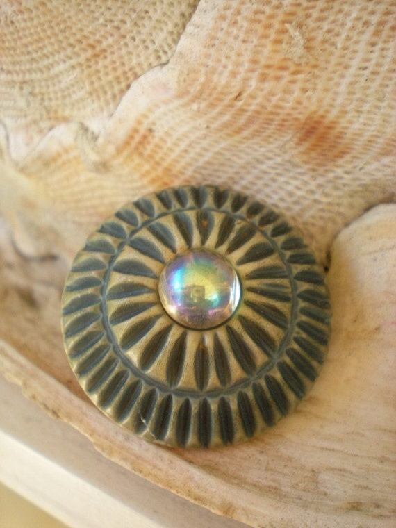 Sea Urchin Vintage Carved Button Brooch