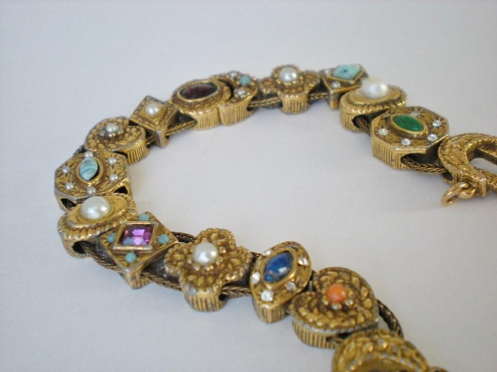 Vintage Goldette Ny Slide Charm Bracelet