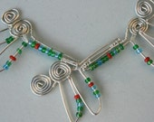 Wire-work Art Necklace - Kissing Dragonflies (earrings separate)