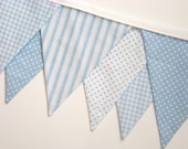 Blue Baby Bunting Banner Fabric Banner Birthday Flags Ticking Gingham Polka Dots