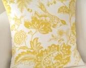 Decorative Yellow Pillow Cover 18x18 Accent Cushion Throw Bird