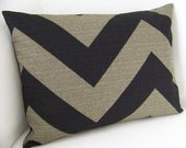 Decorative Pillow Cover 12x16 Black Stone Chevron Zig Zag Cushion Throw Accent Pillow