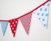 Bunting Banner Red Aqua Turquoise Fabric Banner Circus Carnival Birthday Party Decoration