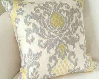 Gray Yellow Pillow Cover Ikat Pillow Decorative Throw Pillow Damask Pillow Cushion Accent Pillow
