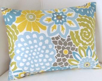 Decorative Throw Pillow Cover Lumbar Pillow Spa Blue Yellow Pillow Cushion Accent