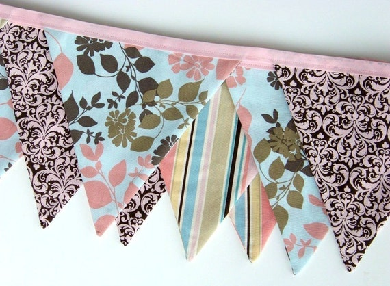 Fabric Bunting Banner Birthday Flags Pink Brown Damask