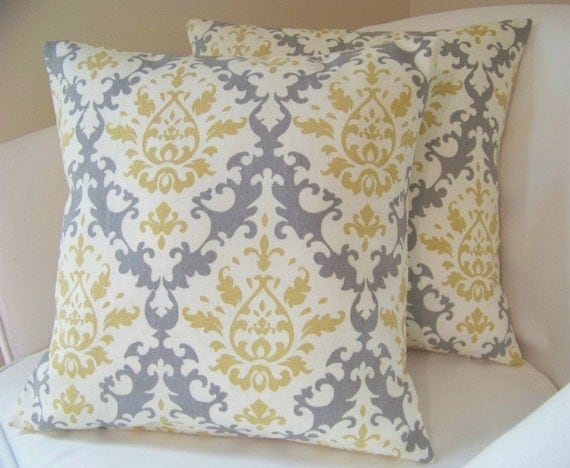 Set of Two Damask 16 Inch Pillow Covers Grey Yellow