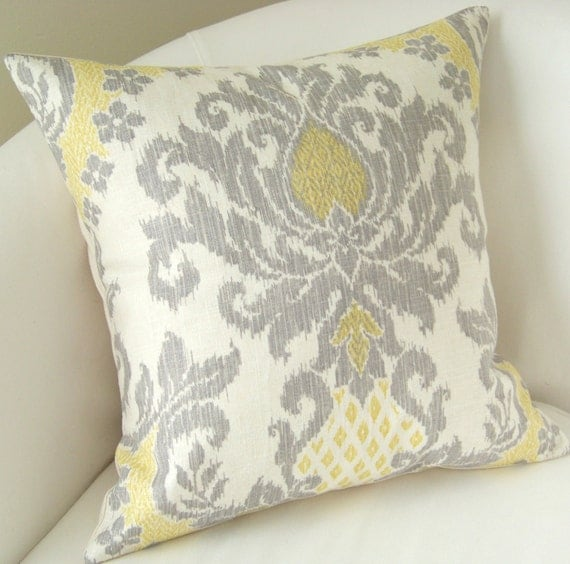 Gray Yellow Pillow Cover Ikat Pillow Decorative Throw Pillow Damask Pillow Cushion Accent Pillow