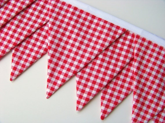 Red Gingham Fabric Bunting Banner- Birthday Banner- Flags