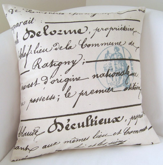 Decorative Pillow Cover French Script 18 x 18 Inch Accent Throw Cushion Cottage Blue