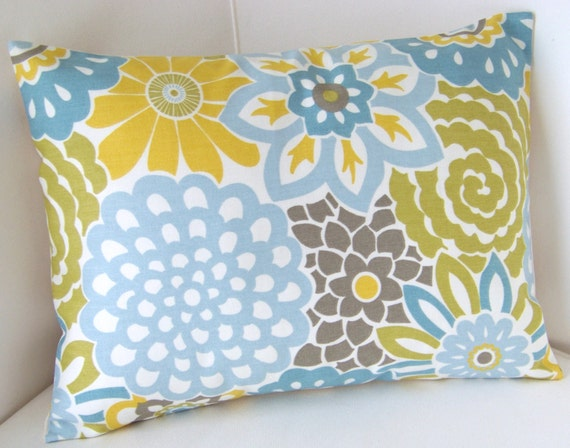Decorative Throw Pillow Cover Lumbar Pillow Spa Blue Yellow Pillow Cushion Accent