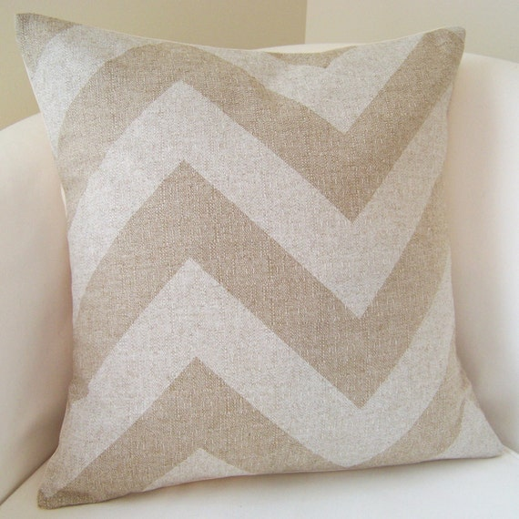Decorative Pillow Cover Chevron Pillow Zig Zag Cushion Throw Accent Pillow Beige Neutral