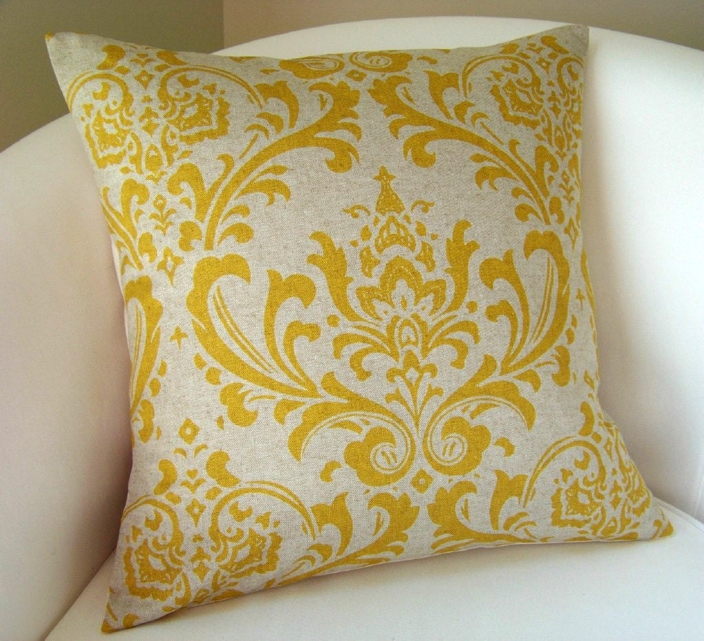 Decorative Pillows For Couch Etsy : Yellow Damask Pillow Cover 18 Inch by nestables on Etsy