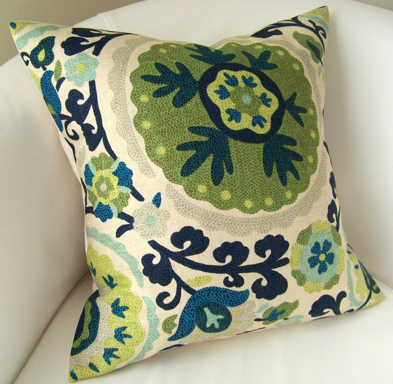 Suzani Pillow Cover Blue Green Pillow Decorative Throw Pillow