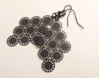 Black Diamond Flower Earrings