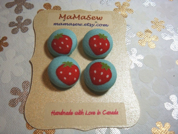 Handmade - Fabric Covered Buttons - Strawberry on Baby Blue- 3/4 inch