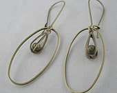 Antique Bronze Handmade Jewelry Drop Earrings Dangle Jewelry Long Light Delicate Openwork