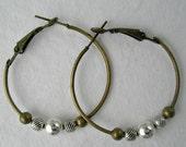 Hoop Earrings Handmade Jewelry Antique Bronze Sterling Silver Oxidized Silver Hoops Mixed Metal Earrings Everyday