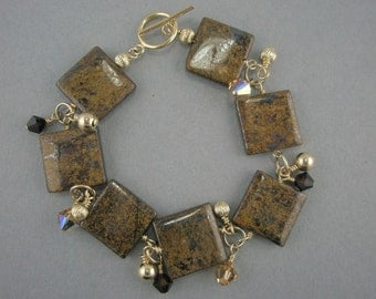 Gold Filled with Brown Brownzite Square Beaded Bracelet